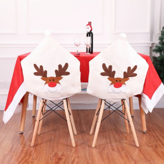 Christmas Table Decoration of Christmas Non-Woven Elk Embroidery Chair Cover pictures & photos