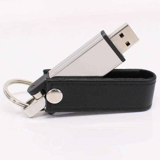 USB Flash Drive in Hard Metal Case with Leather Applications with Customized Logo
