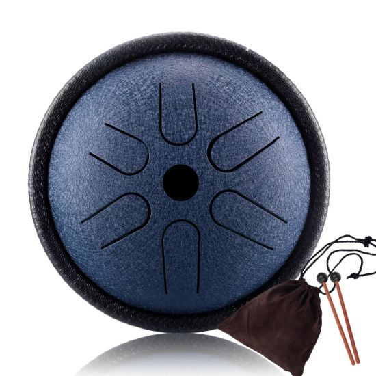 Steel Tongue Drum Mallets Percussion Instrument -Lotus Hand Pan Drum with Bag C Major 8 Notes 6 inches Music Book Finger Picks,Peaceful Sound