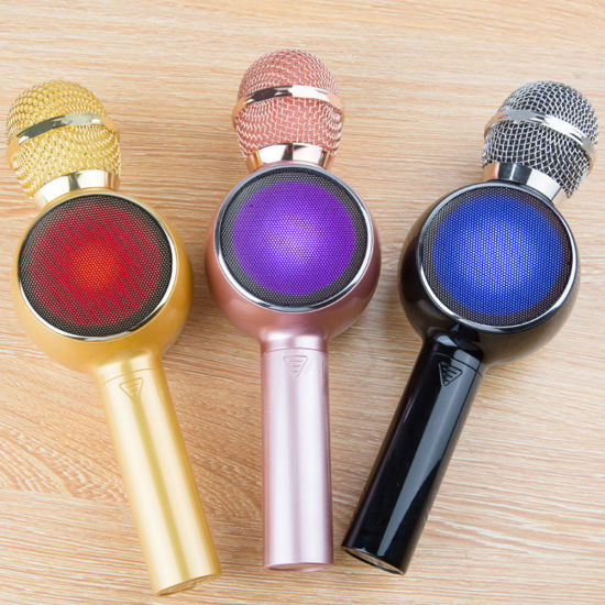 N16 Wireless Microphone Mobile Phone Karaoke We Sing Instrument Bluetooth Microphone with Colorful LED Lights