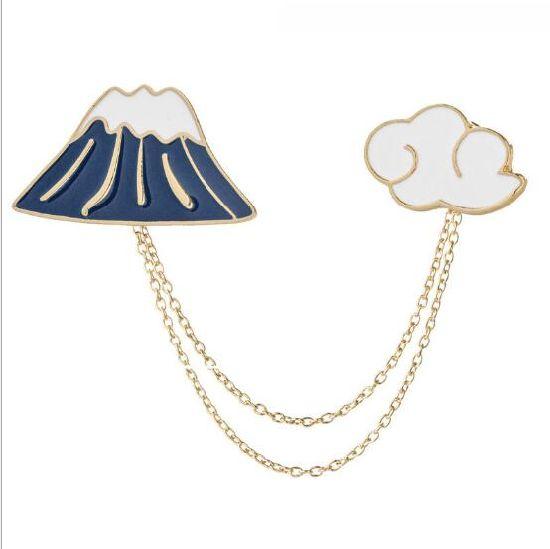 China New Mt FUJI Cloud Set Brooch - China Lapel Pins, Cute Pins