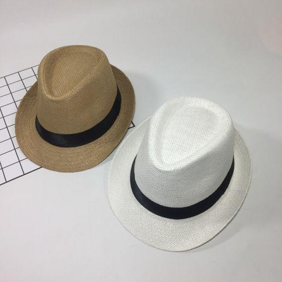 8edb544462c Paper Straw White Custom Panama Chapeau Men′s Sombrero Fedora Hat with  Ribbon