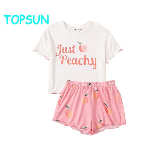 Girls Letter Peach Printed White Tops and Pink Shorts Kids Pajamas Baby Pyjamas