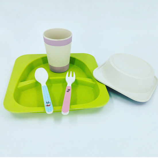 Biodegradable Cartoon Pattern Bamboo Fiber 5 Pieces Kids Dinner Set