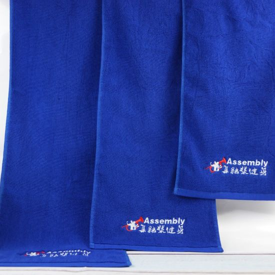 Factory Supply Cheap Cotton Terry Plain Gym Sport Towel with Embroidery Logo