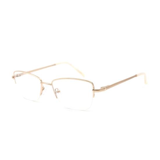 China Wenzhou Half Rim New Metal Women Men Eyewear Eyeglass Frame Optical Frames Manufacturers