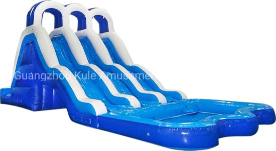 Big Blue White Three Inflatable Water Slide with Pool for Sale pictures & photos