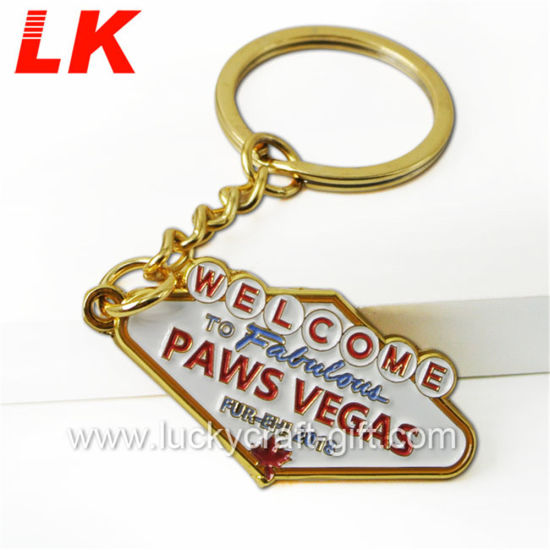 Wholesale Promotional Souvenir Decoration Customized Custom Zinc Alloy 2D 3D Colorful Enamel Logo Gold Metal Personalized Ring Keychains for Promotion Gifts