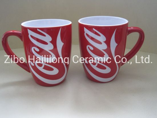 Red Color Glazed Mug with White Decal Ceramic Cup with Logo