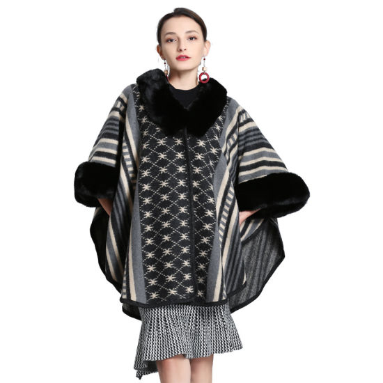 Fashionable Knitted Shawl with Fox Fur Collar Cloak