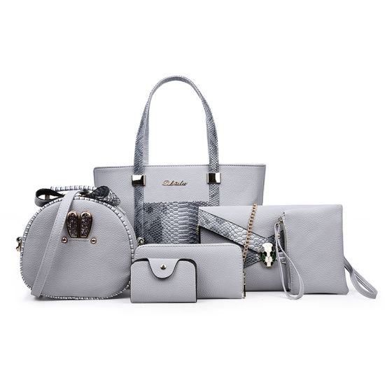 OEM & Wholesale Fashion Ladies Handbag 2019 PU Leather Women Tote Bags 6 Piece Handbags