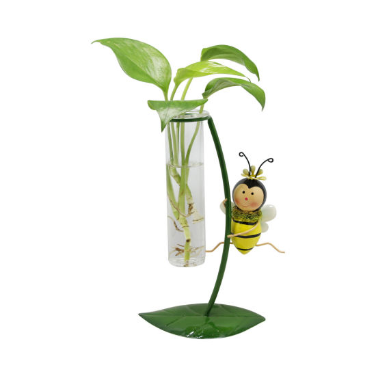Lively Tabletop Decoration Metal Bee Bottle Glass Planter Flower Pot
