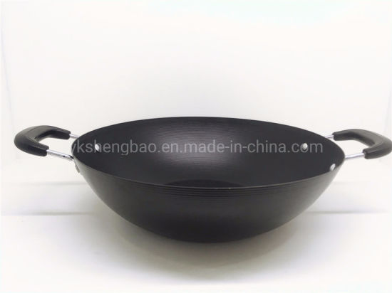 China Two Ear Kitchenware Wok For Restaurant Use China Cookware Wok