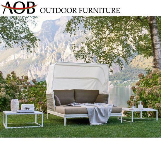Aluminum Rattan Daybed Sun Lounger Sofa