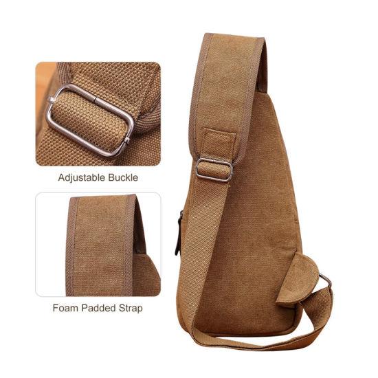 Medium Canvas Sling Bag Crossbody Chest Backpack for Men Women Casual Shoulder Daypack Sport Travel