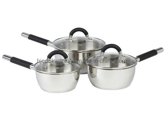 6PCS Stainless Steel Saucepan Set with Silicone Handle