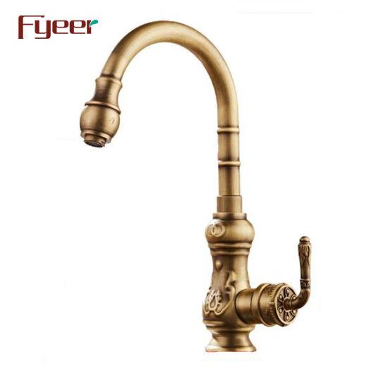Fyeer Single Handle Antique Brass Kitchen Sink Faucet Qh1705