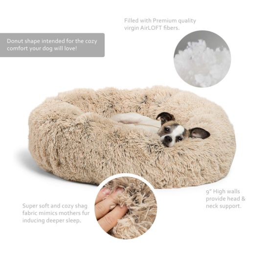 Fur Donut Cuddler, Ultra Soft Round Donut Cat and Dog Cushion Bed