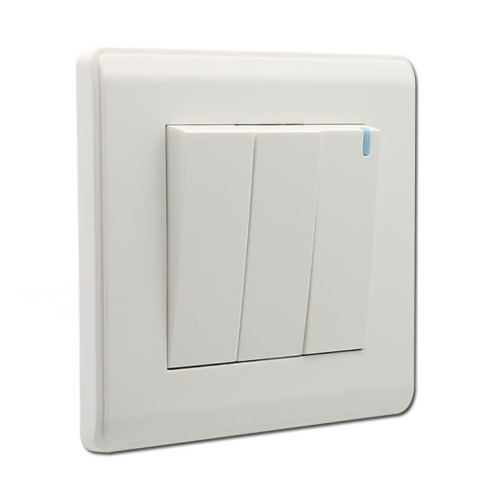 China Pc Material 3 Gang 1 Way Switch With Night Light White Wall Switch China Wall Switch Uk Switch