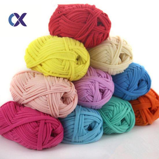 China Oeko Fabric Yarn Fancy Ribbon T Shirt Crochet Yarn - China Hand Knitting and Fabric Yarn price