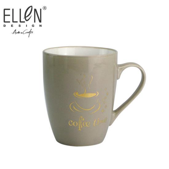 Wholesale Coffee Time Design Real Gold Ceramic Mug