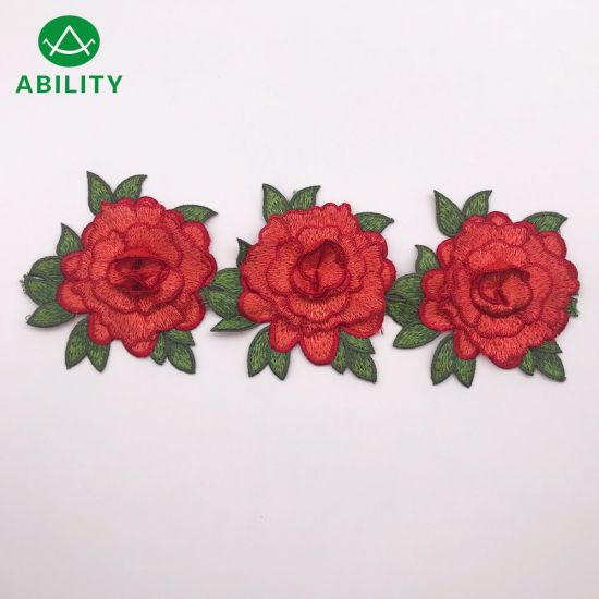Good Quality Beautiful Model Polyester Fancy Embroidery Red Flower Lace Trimming