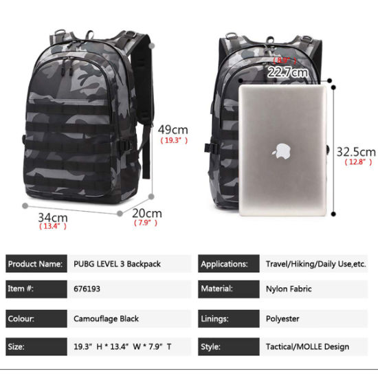 College Laptop Backpack Pubg Level 3 Bag for Camping Hiking Black