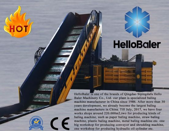 Horizontal fully automatic carton pressing baler/hydraulic plastic baler/packing baler for waste paper/cardboard/occ/plastic/ONP/books/magazines with conveyor