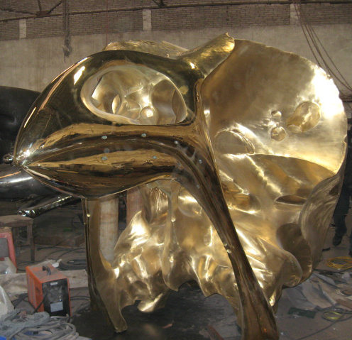 The Golden Bird Skull Head, Indoor Outdoor Garden Square Metal Sculpture pictures & photos