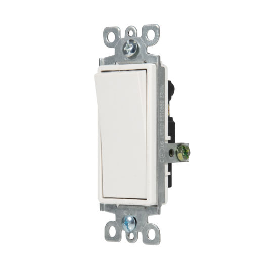 15A, 120/277V, Decora Rocker Single-Pole AC Quiet Switch, Residential Grade, Grounding, UL Listed