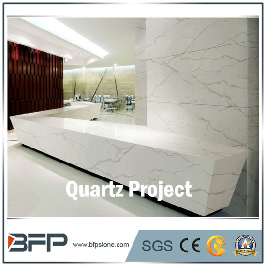 Marble Look Calacatta White Quartz for Slab, Kitchen, Bathroom Countertop pictures & photos
