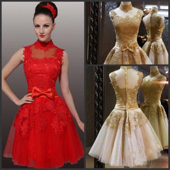 Short Bridesmaid Dress Gold Red Lace Bridal Wedding H1312