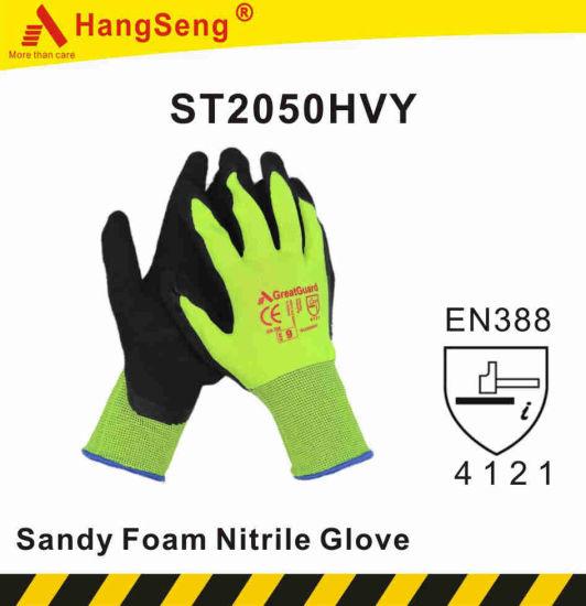 Sandy Nitrile Glove-Hi-Vis Yellow Safety Work Glove (ST2050HVY)