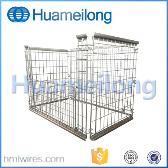 Stacking Wire Cage with Wooden Pallet Wire Mesh Container pictures & photos