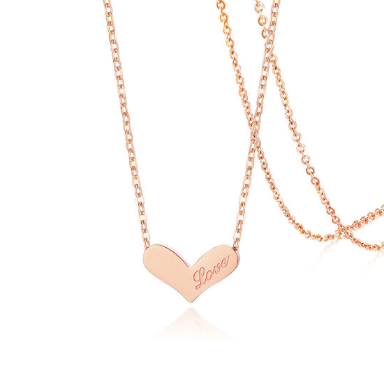 Wholesale Personalized Name Engraved Logo Customized Heart Gold Necklace  for Engagement