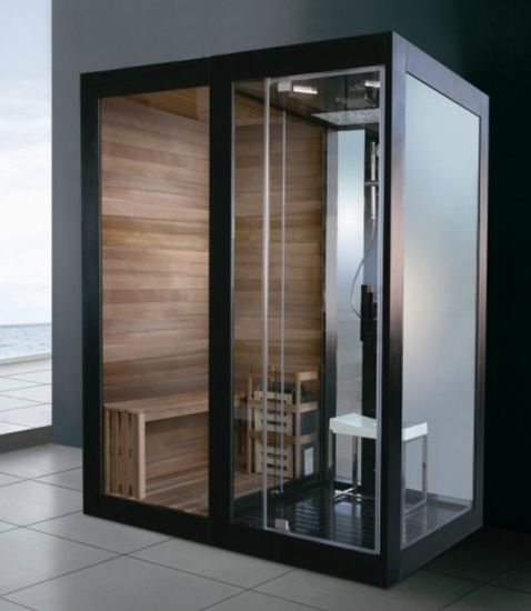 Luxury Black Aluminium Framed Solid Wood Sauna Room And Steam Room  Combination (M 8287)
