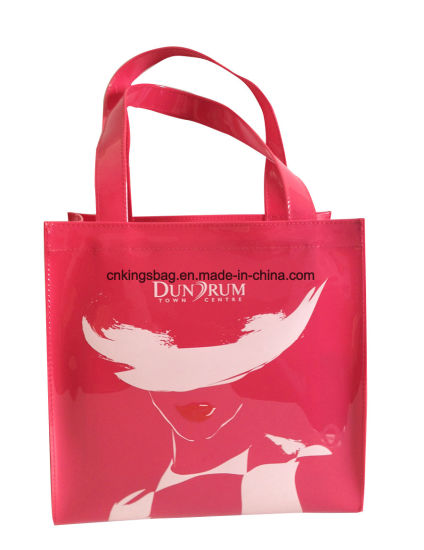 China Patent Shiny Pvc Small Ladies Tote Shopper Bag Pink Colour