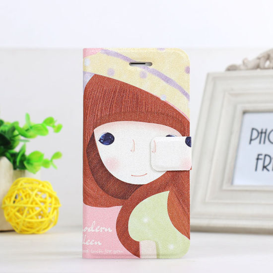Lovely Cute Silk Print Cartoon Leather Case for iPhone 6 pictures & photos