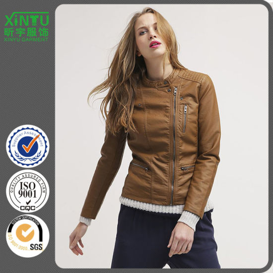 Simple Women Popular PU Leather Jacket Send to Oversea World Wide Made in China Good Quality Customize Logo Coat