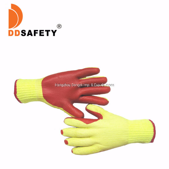 10 Gauge Yellow Polyester Cotton Liner with Red Rubber Coated Safety Gloves