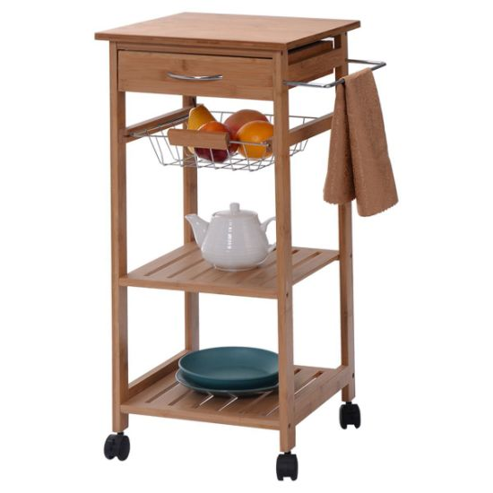 Butchers Block Metal Small Kitchen Trolley Cart With Drawers On Wheels