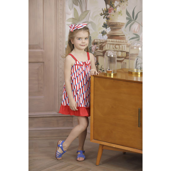 Above Knee A-Line Sling Frocks Design Casual Dresses with Ruffle Hem for Girls Day Wear