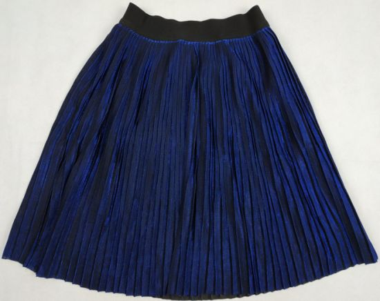 Royalblue Girl′s Pleated Skirt with Lurex pictures & photos