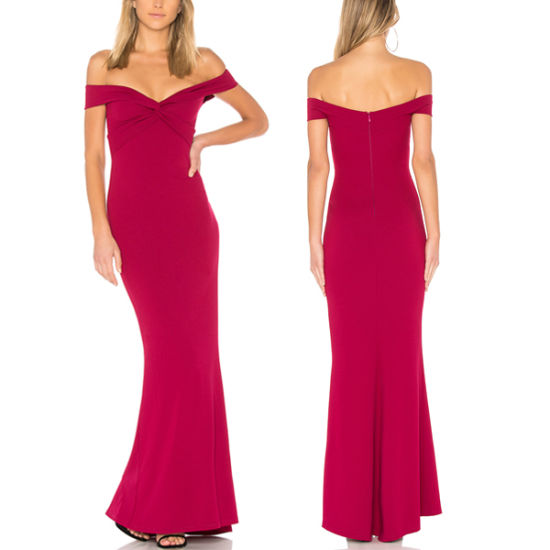 Fashion Lady off-Shoulder Dress Long Bodycon Gown Evening Dresses 2019