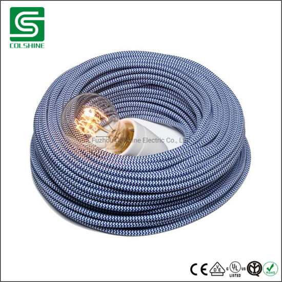 Decorative Lighting Fabric Cable Cotton Textile Braided Electrical Wire