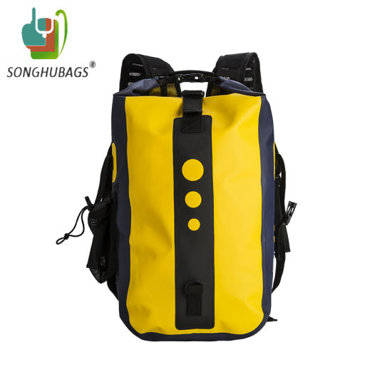 Custom Yellow Color Sport Waterproof Dry Backpack Bag with Shoulder Straps