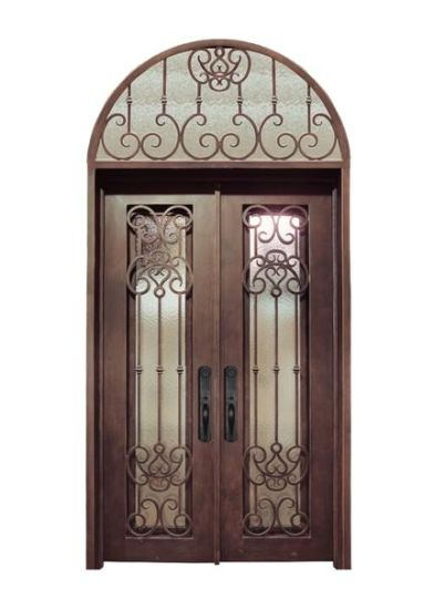 China Copper Finished Tempered Glass Double Entry Doors With Transom