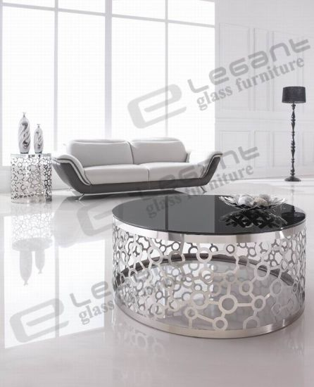Carven Butterfly Stainless Steel Side Table with Tempered Glass Top pictures & photos