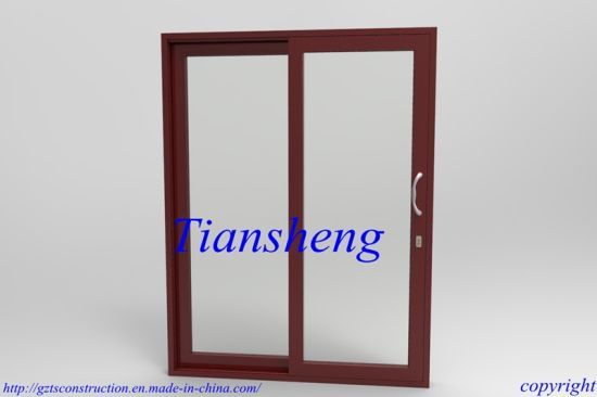 High Quality Customized Two Tracks or Three Track Aluminum Sliding Door with Double Glazing Built-in Blind pictures & photos