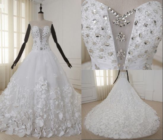 China High Quality Luxury Beaded Ball Long Tail Wedding Dresses ...